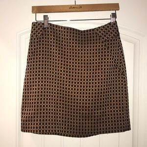LOFT black and bronze dot skirt, size 2